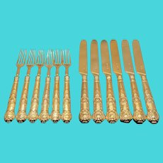 Antique Victorian Solid Silver Gilt Fruit/Dessert Knives & Forks Set of Six in Queens Pattern - Aaron Hadfield 1839