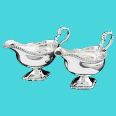 A Pair of Georgian Solid Silver Pedestal Sauce Boats - William Collins 1774