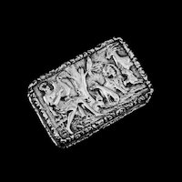 "Rare Antique Georgian Solid Silver Vinaigrette Figural Scene with Animals & Harp ""Orpheus Enchanting Animals""- Joseph Taylor 1827"