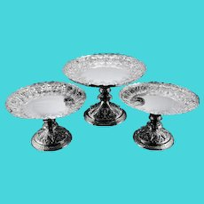 Magnificent Antique Set of Three Solid Sterling Silver Compote / Tazza with Fine Engravings - Martin Hall & Co 1890