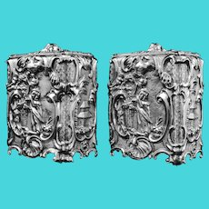 Antique Georgian Solid Sterling Silver Tea Caddy/Canister Pair with Chinoiserie Design - Thomas Heming 1752