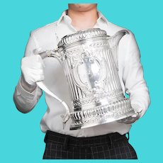 Enormous Solid Silver Flagon/Tankard/Pitcher Jug of The Hicks Family - London 1864