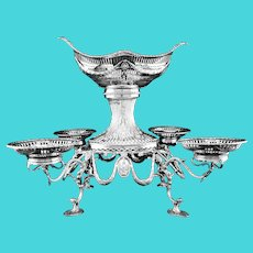 Antique Victorian English Solid Sterling Silver Epergne Centerpiece in Neoclassical Style - Charles Stuart Harris 1889