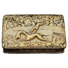 A Georgian Solid Silver Gilt Snuff Box with Spectacular Fox Hunting Scene - Edward Smith 1832