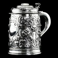 Antique Solid Sterling Silver Large Tankard with Royal Marines Officer Interest - Goldsmiths & Silversmiths Co 1900