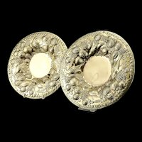 A Magnificent Georgian Pair of Solid Silver Gilt Charger/Platter Dishes (1kg+) - George Burrows 1824