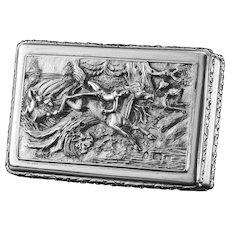 Rare Antique Georgian Solid Silver Mazeppa Snuff Box - Edward Smith 1836
