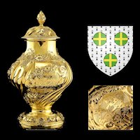 Antique Georgian Solid Silver Gilt Tea Caddy / Sugar Caster, Baronet Coat of Arms (Heathcote) - Samuel Taylor 1753
