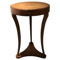 French early 20th century  three  legged marquetry table.