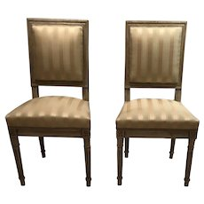Pair French Louis XVI style chairs