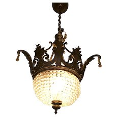 French Bronze and  bead crystal  basket  chandelier
