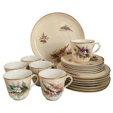 Antique Royal Worcester Porcelain 6-person Dessert/ Tea or Coffee Service, c1890