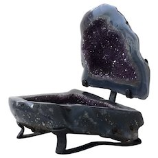Large Amethyst Geode with Agate Polished Stone