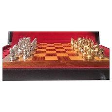 Vintage Sterling Silver 18k Gold Gilt Travel Chess Set Board Game Hallmarked