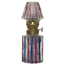 Vintage Cranberry Cobalt Stripe Glass Student Oil Lamp