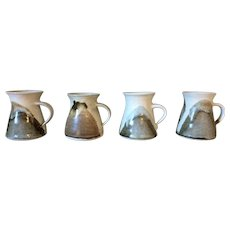Vintage Studio Pottery Mugs Glazed Set 4