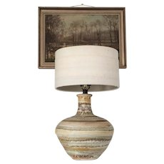 LARGE Vintage Mid Century Stripe Ceramic Table Lamp 20 inch