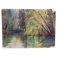 Vintage watercolour landscape painting trees lake signed