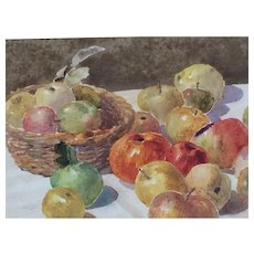 Still life bowl of apples watercolour painting framed