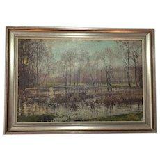 Vintage Oil Painting Evening Winter Wetland Woods Landscape Framed Signed Schneider