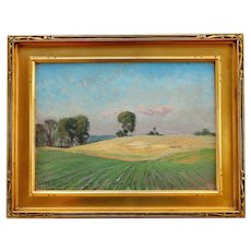 "1916 ""Summer Fields"" Plein Air Oil Painting by Mathias Joseph Alten, Framed"