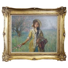 "1910 ""Spring Blossoms"" Portrait Landscape Oil Painting by Charles E. Waltensperger, Framed"