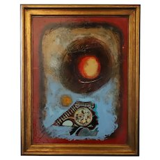 """1973 """"Untitled No. 14"""" Abstract Mixed-Media Painting by William Lowell Howell, Framed, African American Artist"""