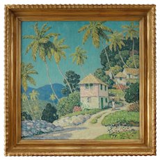 "Early 20th Century ""Hill Town Jamaica"" Oil Painting by Will Howe Foote, Framed"