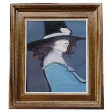 """Late 20th Century """"Lady With a Hat"""" Portrait Oil Painting by Juan Garces Espinosa, Framed"""
