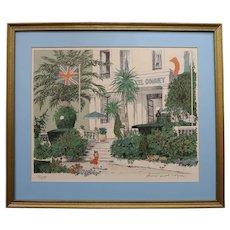 1960s Hotel Gonnet, Original Framed Lithograph by Denis Paul Noyer
