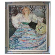 """1943 """"Woman in Striped Skirt"""" Post Impressionist Portrait Oil Painting by Dimitrie Berea, Framed"""