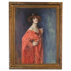 "1925 ""Spanish Dancer"" Portrait Oil Painting by Mathias Joseph Alten, Framed, American Impressionist, Grand Rapids Artist"