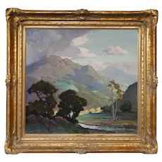 """Early 20th Century """"Topanga Canyon"""" Impressionist California Landscape Oil Painting by Orrin Augustine White, Framed, Newcomb-Macklin"""