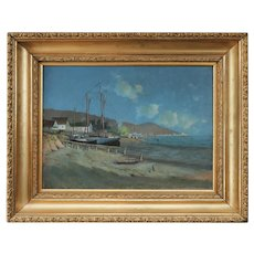 "1893 ""San Francisco Bay Near the Golden Gate"" Oil Painting by William Hubacek, Framed, California"