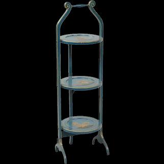 19th Century Chinoiserie Painted Three-Tier Folding Dessert Stand