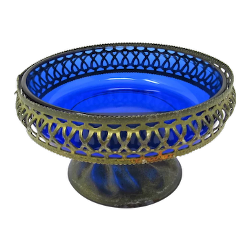 1920s Cobalt Glass Bowl in Pierced Metal Stand