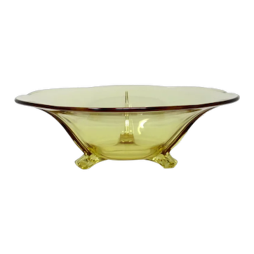1930s FOSTORIA Topaz 3-toed Glass Bowl