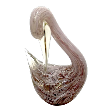 Mauve & Opalescent Filigree Art Glass Swan Figurine