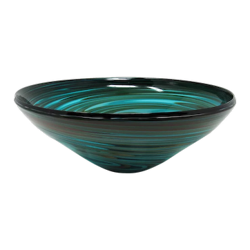 Large Teal Art Glass Bowl