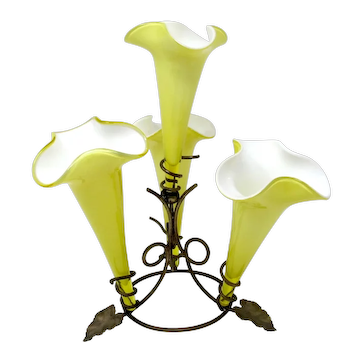 Victorian JOHN WALSH Uranium Yellow and White Glass Epergne