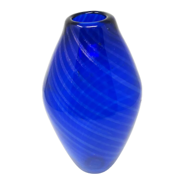 1960s Cobalt Art Glass Vase with Foil Stripes