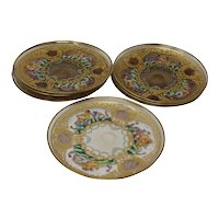 Vintage Hand Blown Murano Glass Enameled Dishes - Set of 7