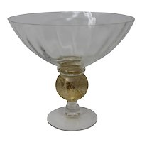 Gold and Clear Glass Hand Formed Candy Dish
