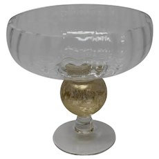 Gold and Clear Glass Hand Made Glass Candy Dish