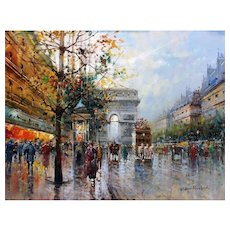 """Paris Street Reflections"" Oil Painting by Antoine Blanchard"