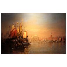 Venetian Sunset Antique Oil Painting