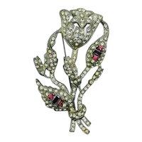 1920's Art Deco Costume Jewelry Rhinestone Rose Brooch