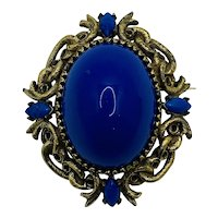 Vintage LARGE Jeanne Costume Jewelry Brooch Blue