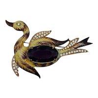 Vintage Coro Costume Jewelry Bird Brooch Jelly Belly Rhinestone