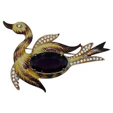 Vintage Coro Costume Jewelry Bird Brooch Jelly Belly Rhinestone